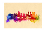 San Antonio, Texas - Skyline Abstract Prints by  Lantern Press