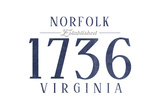 Norfolk, Virginia - Established Date (Blue) Print by  Lantern Press