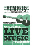 Memphis, Tennessee - Horizontal Guitar - Teal Screenprint Art by  Lantern Press