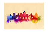 Salt Lake City, Utah - Skyline Abstract Print by  Lantern Press