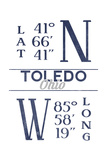 Toledo, Ohio - Latitude and Longitude (Blue) Posters by  Lantern Press