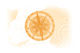 Compass - Yellow - Coastal Icon Print by  Lantern Press