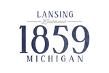 Lansing, Michigan - Established Date (Blue) Print by  Lantern Press