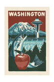Washington State - Woodblock Prints by  Lantern Press
