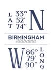 Birmingham, Alabama - Latitude and Longitude (Blue) Poster von  Lantern Press