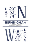 Birmingham, Alabama - Latitude and Longitude (Blue) Posters by  Lantern Press