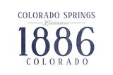 Colorado Springs, Colorado - Established Date (Blue) Print by  Lantern Press