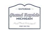Grand Rapids, Michigan - Now Entering (Blue) Print by  Lantern Press