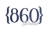 Hartford, Connecticut - 860 Area Code (Blue) Prints by  Lantern Press