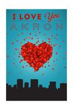 I Love You Akron, Ohio Art by  Lantern Press