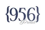 Laredo, Texas - 956 Area Code (Blue) Art by  Lantern Press