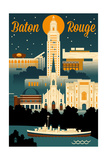 Baton Rouge, Louisiana - Retro Skyline Posters by  Lantern Press