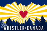 Ski Whistler, Canada - Heart and Treeline Prints by  Lantern Press