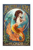 Jacksonville Beach, Florida - Mermaid Scene Prints by  Lantern Press