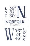 Norfolk, Virginia - Latitude and Longitude (Blue) Prints by  Lantern Press