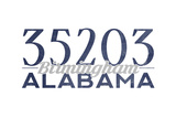 Birmingham, Alabama - 35203 Zip Code (Blue) Poster by  Lantern Press