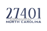 Greensboro, North Carolina - 27401 Zip Code (Blue) Prints by  Lantern Press
