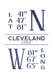 Cleveland, Ohio - Latitude and Longitude (Blue) Prints by  Lantern Press