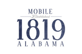 Mobile, Alabama - Established Date (Blue) Prints by  Lantern Press