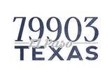 El Paso, Texas - 79903 Zip Code (Blue) Art by  Lantern Press