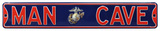 Man Cave Marines USMC Officer Steel Street Sign - Silver Emblem Wall Sign