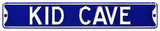 Kid Cave Steel Street Sign - Blue/White Wall Sign