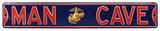 Man Cave Marines USMC Enlisted Steel Street Sign - Gold Emblem Wall Sign