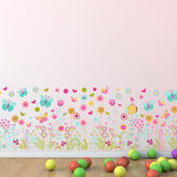 Colourful Butterflies and Flowers Skirting Wall Decal