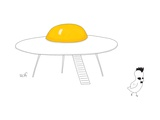 A bird leaves an egg spaceship. - New Yorker Cartoon Premium Giclee Print by Seth Fleishman