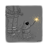 Sparkler Safety - Cartoon Regular Giclee Print by Kim Warp