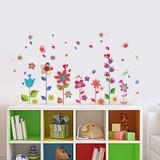 Colourful Flowers Butterflies - Duvar Çıkartması