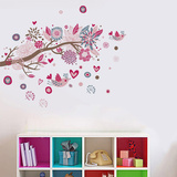 Huge Pink Bird Tree Wall Decal