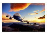 747-8F with colorful sky Posters by  Anonymous