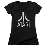 Juniors: Atari- Distressed Logo V-Neck T-shirts