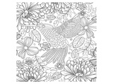 Colibri Tropical Flower Coloring Art Prints by  Anonymous