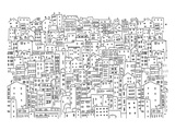 City Townhouses Lineart Pattern Prints by  Anonymous
