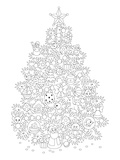 Christmas Tree Design Coloring Art Posters by  Anonymous