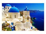Blue Santorini IV Giclee-tryk i høj kvalitet af Anonymous