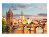 Charles bridge Prague Checkia Prints by  Anonymous