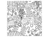 Cars hills and towns lineart Prints by  Anonymous