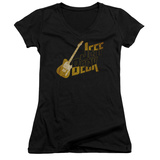 Juniors: Jeff Beck- Distressed Guitar Marquee V-Neck T-Shirt