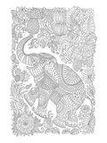 Elephant & Fruit Jungle Design Coloring Art Prints by  Anonymous