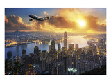 747-8F flying over Hong Kong Poster von  Anonymous