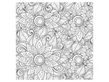 Handdrawn Floral Coloring Art Prints by  Anonymous
