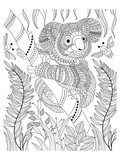 Koala Bee and Bamboo Lineart Prints by  Anonymous