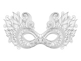 Carnival Floral Mask Feathers Coloring Art Prints by  Anonymous