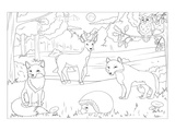 Forest - Kids Design Coloring Art Print by  Anonymous
