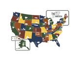USA Map Art by Katelyn Lynch