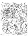 Flowers & Leafs Design Coloring Art Prints by  Anonymous