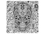 La Muerte Skull Coloring Art Prints by  Anonymous